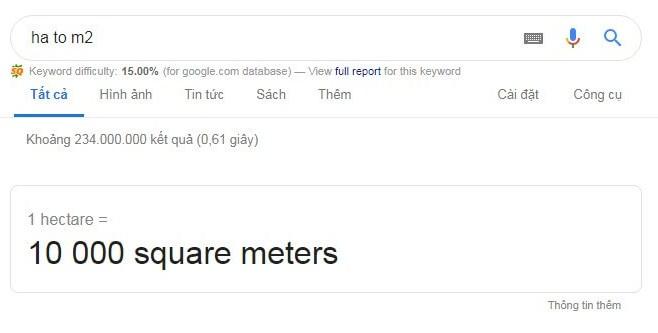 Đổi nhanh đơn vị ha sang m2 bằng google